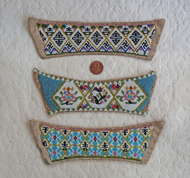 Late Qing Dynasty 3 pairs of beaded strips for women's shoes...