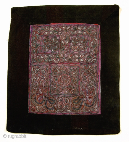 This lovely old  panel is from a Chinese Miao Ethnic Minority baby carrier. Embroidered with a very intricate flowing pattern using silk floss and wrapped thread and satin stitch techniques, this  ...