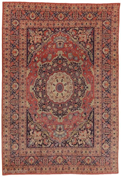 Farahan - Sarouk Persian Carpet  296x199 cm  Over 120+ years old  www.carpetu2.com