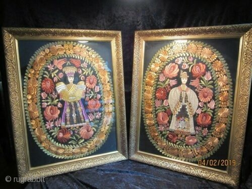 Unusual Pair of Antique Hungarian Matyo embroidery. Gesso frames. 27 x 23 inches.