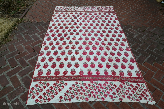 Antique Phulkari Thirma Bagh. Silk floss on gauze linen. Perfect condition. Early example. Approx 110 x 60 inches.