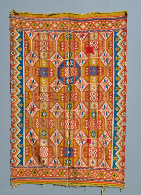 """Swedish Skane """"Rolakan"""" tapestry Dated 1822 and signed """"B N D."""" Size is 71 x 50 inches. Thank you"""