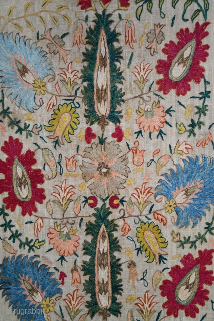 XVII or XVIIIth Century Ottoman Robe Sleeve Cuff embroidery. Silk and metallic thread on linen. Excellent condition and color preservation.