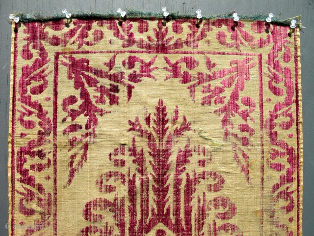 An early antique Bursa Yastik pillow rug cover. Extremely fine and delicate work - silk velvet. Size is 19 x 36 inches.