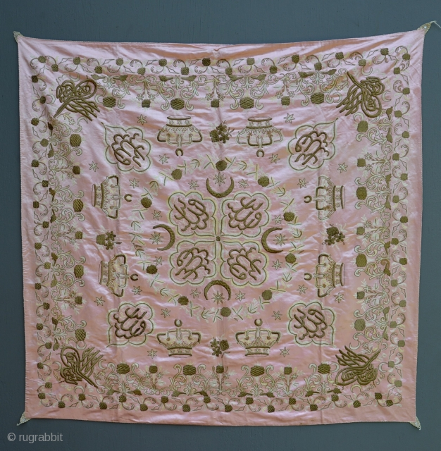 Large antique Ottoman Turkish Imperial Tughra seal embroidery or tapestry. Approx. 4.5 x 4.5 ft. Laced corners. Metallic gold wire on silk. Pristine original condition.