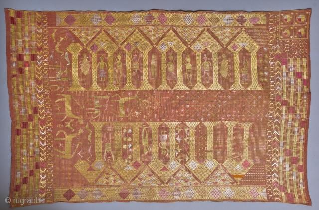 Darwan Darwaja Phulkari Here's a very rare type of Punjabi Phulkari with human figures and animals.   Dimensions: 87 x 55 inches Origin: East Punjab, India/Pakistan Circa: Late 1800s, early 1900s Materials: Silk, Wool Condition: Fair, colors more  ...
