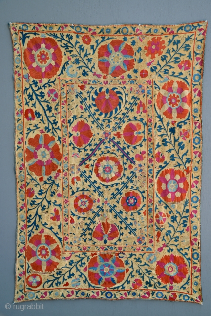 Antique Uzbek Suzani. Excellent colors and very fine silk embroidery threads. Subtle Mihrab prayer design. Embroidery is in very good to excellent condition, background linen has some weakness issues. 3 separate and  ...