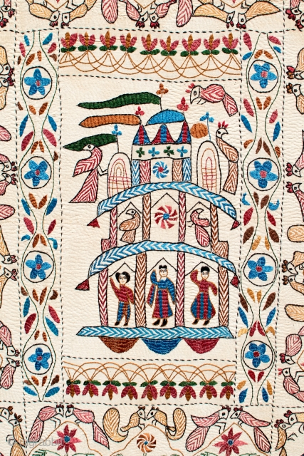 A very fine antique XIXth Century Kantha. Silk and cotton. Frame-mounted over 75 years ago. Pristine condition without any damage or repair. 43 x 35 inches.