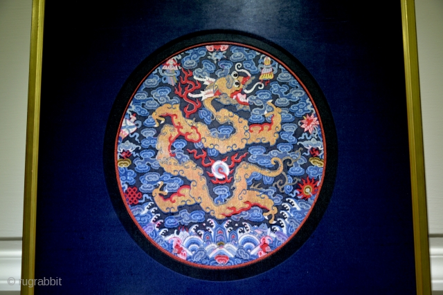 A very fine XIXth Century Chinese Imperial two-clawed Dragon Seal. This is a museum quality badge and is in a pristine state of preservation. Triple-framed in silk (blue, red, black). Kesi or  ...