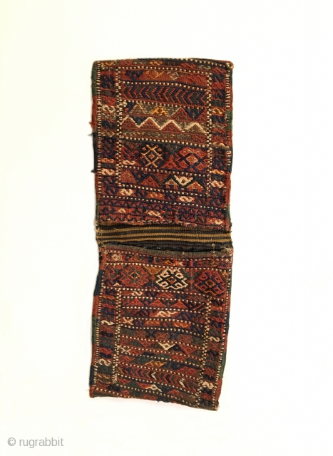 """Shahsavan Sumak Khorjin. Late 19th Century. Complete khorjin saddle bag set. Colorful and tribal. Mint condition considering age. Original selvage. 9 colors. 2'3"""" x 0'10"""". Delicately hand washed."""
