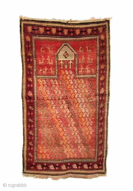 Antique Caucasian Karabagh Prayer Rug. Inscribed and Dated 1892. Diagonal Boteh motif fills field. 14 animals surround prayer arch. Excellent Condition with full pile. 6 colors. 2'8 x 4'9. Carefully hand washed.