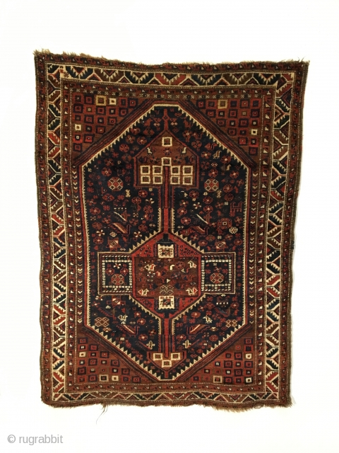 Khamseh.  Tribal bird rug.  Late 19th Century.  Excellent condition.  5 colors.  60 x 44.5.  Clean and hand washed.