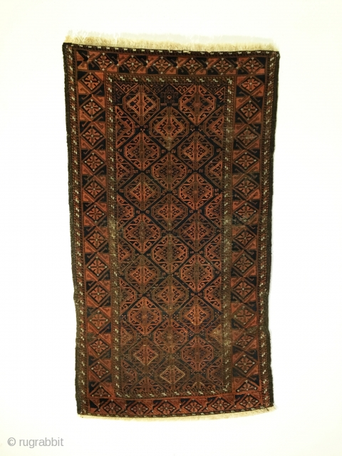 Baluch Timuri rug, Sangtshuli.  Last Quarter 19th Century.  Great condition for its age.  4 colors.  60 x 33.  Clean and hand washed.