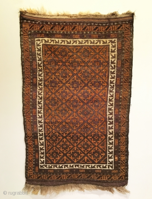 Afghan Baluch Rug.  Circa Antique.  Very good condition, full lustrous pile.  Original kilim ends.  5 colors.  63 x 39.  Clean and hand washed.