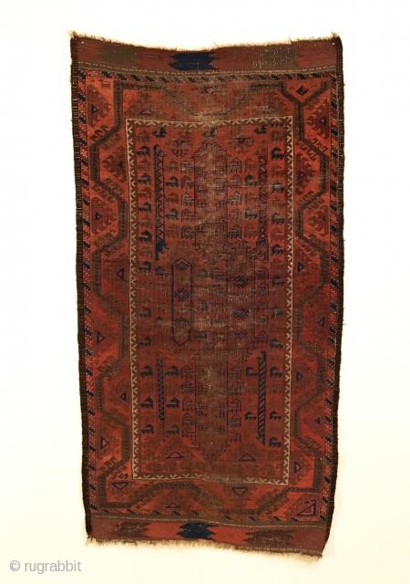 Baluch Rug.  Circa 1880.  Northeast Persia.  Rare Qalamdani Design.  Six distinct vertical bird trees.  Powerful border. Copper colored wool.  All original, no repairs.   Condition:  ...
