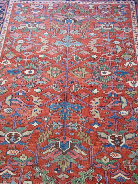 """Antique Persian Heriz rug, circa 1900's , 6' x 9""""ft. wonderful original condition, professionally hand washed and cleaned ready for floor."""