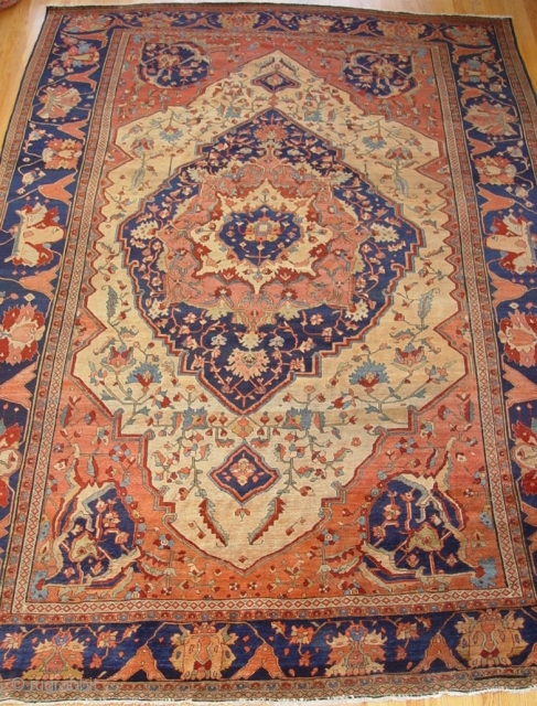 """Antique ca. 1860's Persian Farahan Sarouk, size is 8'3"""" x 11'4""""ft. excellent original condition , no repair, hand washed and cleaned professionally, minor areas of lower pile."""