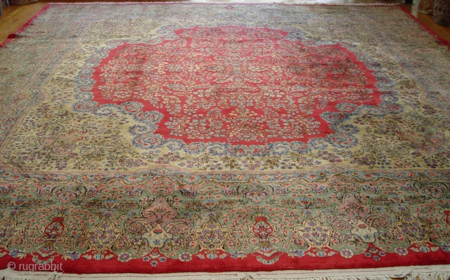 """Antique Persian Kerman oriental rug, it measures 13'6"""" x 15'ft. (412 x 458 cm.), ca. 1920's, excellent condition, professionally hand washed and cleaned."""
