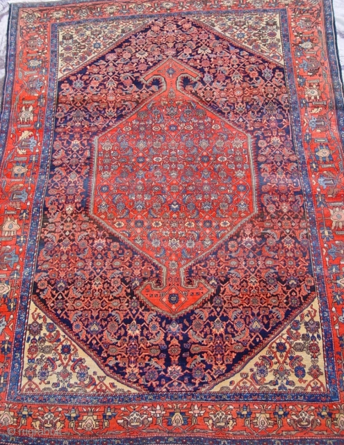 """Antique Persian Farahan Oriental Rug, ca. 1900, size is 4'6"""" x 6'6"""""""