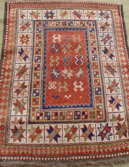 """Antique Caucasian Kazak , circa 1880's, 2'11"""" x 3'9"""" / 89 x 115 (cm), wonderful condition."""