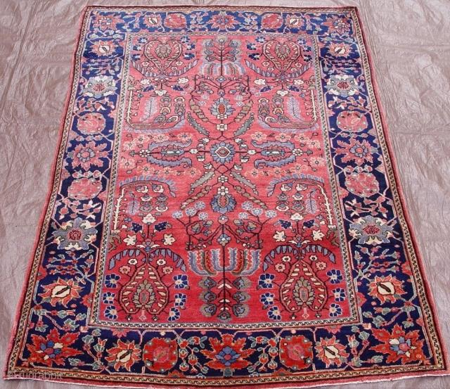 "Antique Persian Farahan Sarouk, 3'5"" x 4'11"" / 104 x 150 (cm) circa 1900, mint original condition."