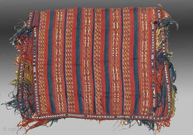 """Uzbek Horse Cover, Central Asia, late 19th century, 4'3""""x 3'8""""  This flatwoven horse cover was made in Central Asia by Uzbek weavers.  It is composed of narrow bands of warp faced technique  ..."""