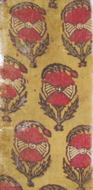 Early cotton Textile Fragment, N. India, resist & mordant dyed