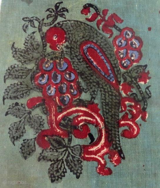 Detail - Cotton textile, wood block printed (mordant/resist dyed), N. India, circa 1900 - 20