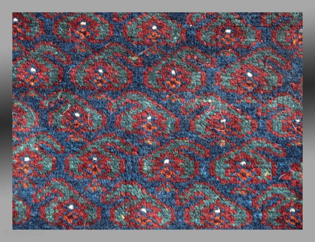 """Baluch 'Balisht' (pillow cover), SE Persia, 19th C. 1'6"""" x 2'6""""  Silky pile, no repair, one minor spot of wear (see detail image)  all natural dyes, finely woven, soft handle  SOLD"""