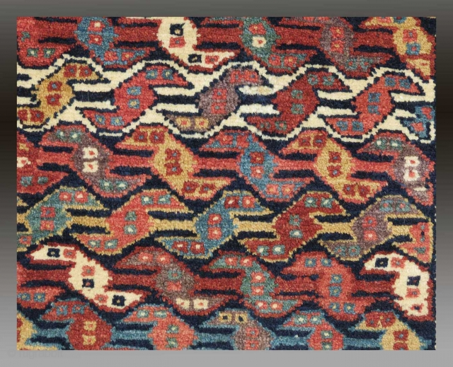 """Kurdish Bag Face, W. Persia, 19th C., 1'11"""" x 1'8""""  A colorful Kurdish bag face with excellent drawing, ie. the 'birds heads' or so-called 'running dog' design with with two eyes on each  ..."""