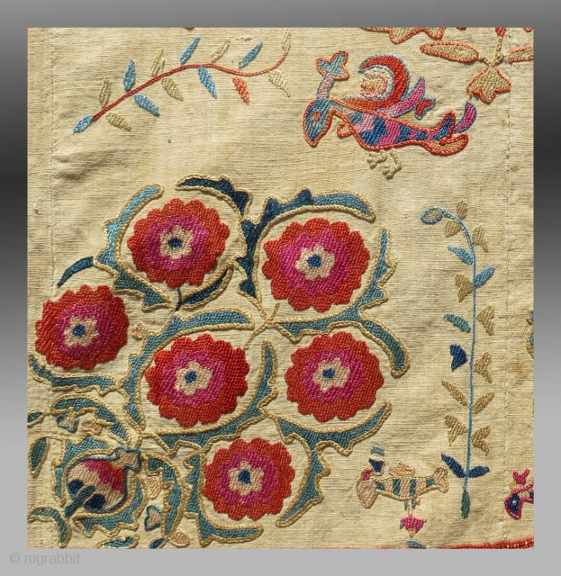 Detail of a Nurata type embroidery / suzani, Central Asia, 19th C.  Please inquire for further detail / information