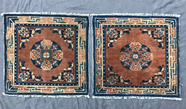pair of ningxia or maybe gansu squares. west china, late 19th century, 57 x 61 cm, 23,22 x 24,01 inches, alle ends are repiled.