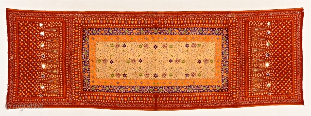 Superb silk, tie-dyed Palembang shawl, Sumatra. around 1900. item S47. Size:225x75cm. some corrosion. visit www.tinatabone.com