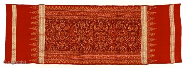 Late 19th c. Limar, Bangka Island, Sumatra.  Silk, metal thread, Ikat songket/brocade. 213x73cm. Ask for more info www.tinatabone.com