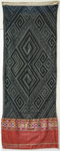 Door curtain– Tai-Dam or Tai Daeng - Houaphan province, Laos.  Used as a door curtain for a bridal chamber. Striking naga design.  The Naga/ mythological water serpent of magical and  ...
