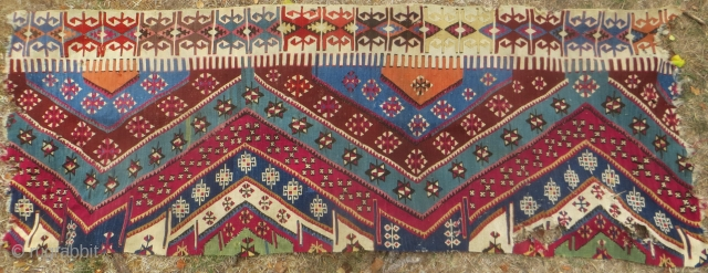 SOLD THANK YOU Anatolian kelim fragment, 19th century, 7 feet  x 31 inches.