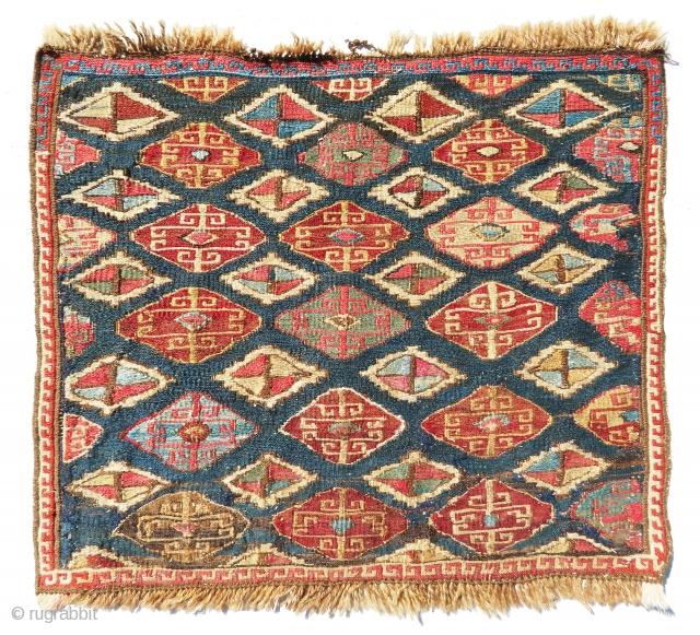 """Gorgeous and antique shahsavan sumac bag face, nice piece in reasonable price. 1'-5""""x1'-3""""."""