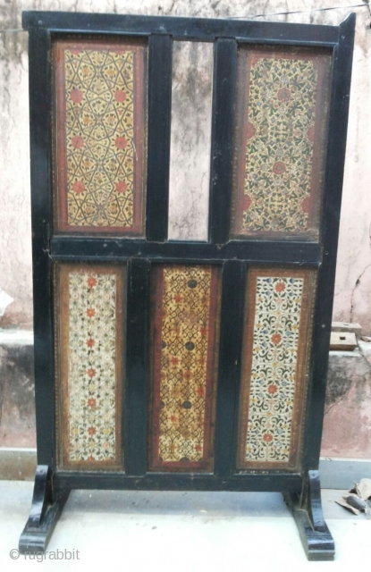 Wooden Mughal Partition .   Double Side ,Natural Stone Colours, Emboss Flower design Work.   Teak Wooden Frame.   From Hyderabad ( Andhra Pradesh ) .   Very Old and Good Condition.   18 Century Piece.  size: 3.3  ...