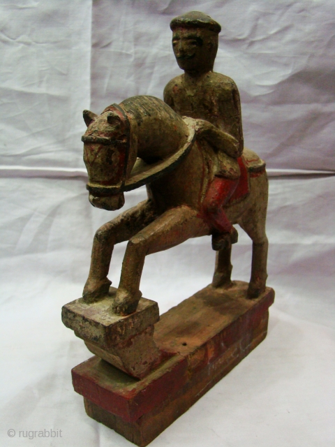 Polychrome Wooden Horse Toy .  Polychrome Wooden Toy from Central India ( Maharashtra ).  Horse with a Rider in good condition.