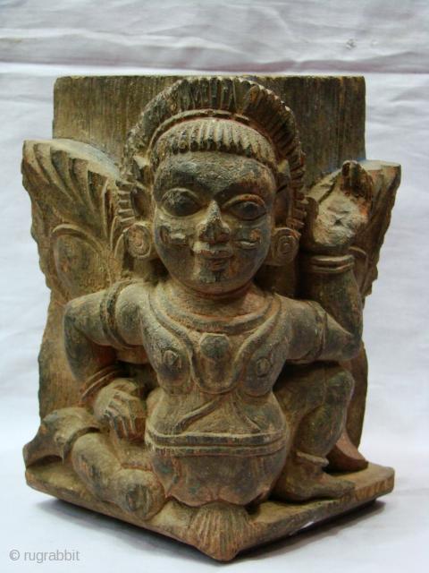 Wooden Garuda Pillar Base.   From Kerala ( South India ).   Size: 11 x 11 x 16 cms  Very Good Condition.