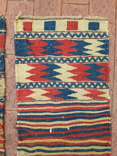 Small flatwoven tribal zigzag bags probably Kurdish. Coarse weave and all natural dyes.   Each bag measures approx 82x38cm.