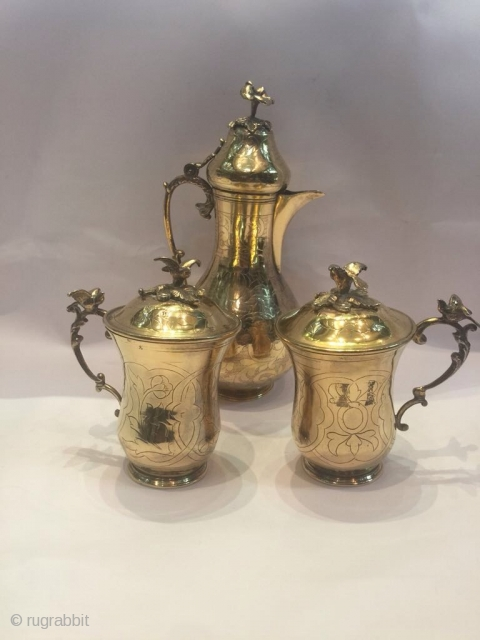 Ottoman Armenian Gold Plating Silver Sahlep Set!!  Over 150 years old and really in great conditions!!Made by Ottoman Armenian Artist MATAT GAZAROSYAN  The set totaly 896gr. Any questions pls ask!!