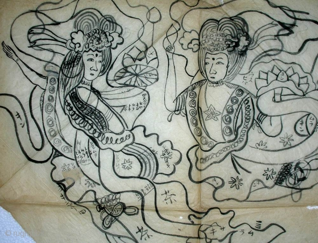 'Angels' drawing for uchishiki, Japan, Meiji (circa 1880), 90x47cm.