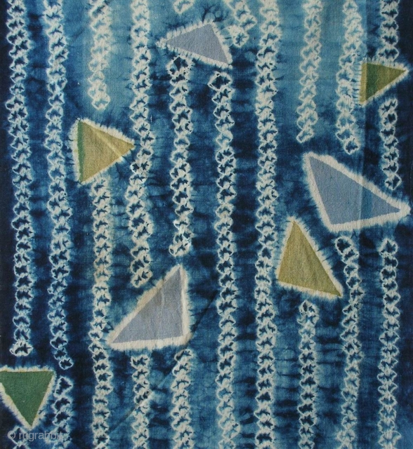"""Indigo shibori cloth , Japan, Taisho (c.1920), 66x33cm. The common English translation of the Japanese word shibori is """"tie-dye""""; however, a more accurate translation is """"shaped-resist dyeing,"""" which describes the inherent patterning  ..."""