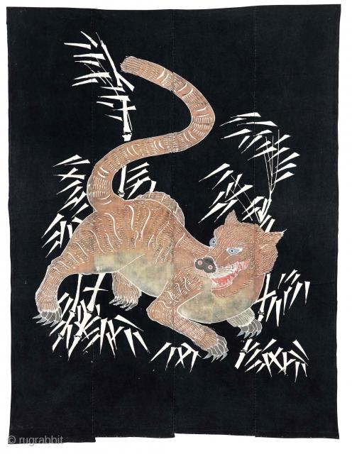 Antique tsutsugaki Fabric Meiji Period, circa 1890, 167x129cm  A futon cover having a design of a predatory animal, in this case a stunning tiger, but also symbolizes strength and integrity.  Dyed with tsutsugaki technique,  ...