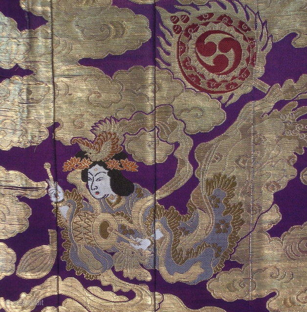Silk temple cloth, Japan, Meiji (circa 1900), cm 168x30. This is a vintage 'ouhi', part of a 'kesa', a robe used by Buddhist monks, draped under one arm and fastened at the  ...