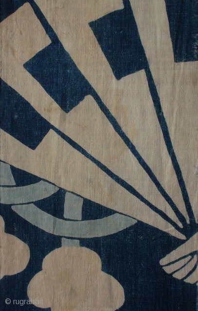 Tsutsugaki futonji panel, Japan, Meiji (circa 1880), cm 149x33. This is a panel from a bedding cloth (futonji) decorated in the so-called 'tsutsugaki' technique, with the pattern of a fan in white  ...