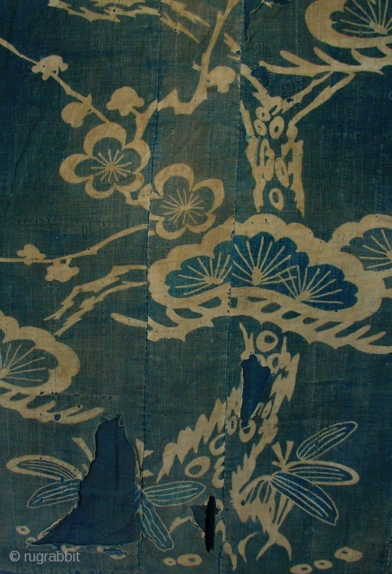 Yogi Boro, Japan, Meiji (circa 1880), cm 135x81. Yogi (literally 'night wear') can be defined as a 'sleeping kimono' or a 'kimono-shaped bedding'. Because they were large, thick, soft robes, the yogi  ...