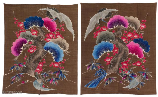 Rare Tsutsugaki Futonji Couple.  Meiji Period (circa 1890), 156x125cm and 156x124cm.  A complete representation of the symbols cards for the spouses, thus said Shochikubai and Tsurukame that in addition to the 'three  ...
