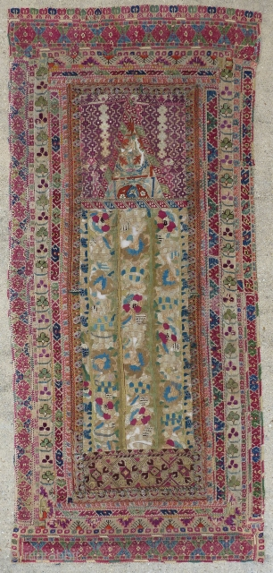 Beautiful antique Ottoman Greek embroidery arched prayer panel known as a quibla. It is composed of various antique Ottoman Greek embroideries in order to create a prayer mat, which are probably from  ...